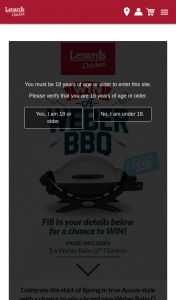 Lenard's Chicken – Win a Brand New Weber Baby Q Titanium (prize valued at $9,153)
