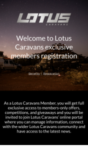 Lotus Caravans Member Registration – Win $200 Bcf E (prize valued at $200)