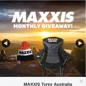 Maxxis Tyres Australia – Win an Official Maxxis Camping Chair a Newly Designed Maxxis Beanie
