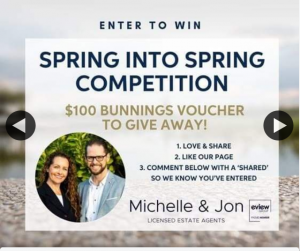 Michelle & Jon Licensed Estate Agents – Win $100 Bunnings Voucher Like and Share (prize valued at $100)