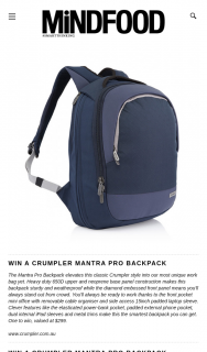 Mindfood – Win a Crumpler Mantra Pro Backpack (prize valued at $299)