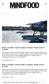 Mindfood – Win a Sydney Highlights Flight for One (prize valued at $250)