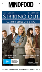Mindfood – Win 1 of 5 Copies of Striking Out Series 1 & 2 on DVD Valued at $34.95 (prize valued at $34.95)