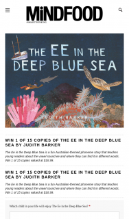 Mindfood – Win 1 of 15 Copies of The Ee In The Deep Blue Sea By Judith Barker (prize valued at $16.99)