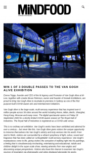 Mindfood – Win 1 of 3 Double Passes to Van Gogh Alive (prize valued at $118)