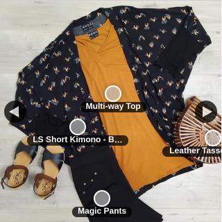 NOOZ – Win The Length You Want In this Nooz Ls Black Bird Kimonos (osfm)