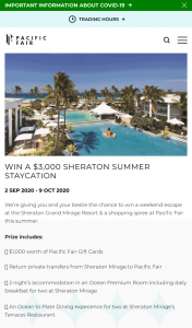 Pacific Fair Shopping Centre – Win a $3000 Summer Staycay at The Sheraton