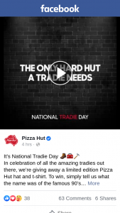 Pizza Hut – Win a Limited Edition Hat & T Shirt