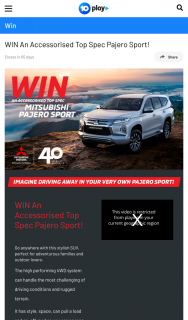 10Play – Win an Accessorised Top Spec Pajero Sport (prize valued at $63,874.96)