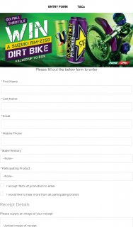 Puma Energy [Fuel Service Stations] – V-Energy | Rockstar buy any VE or RS energy drink Enter to – Win a Suzuki Dirt Bike (prize valued at $12,000)