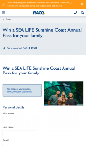 RACQ – Win a Sea Life Sunshine Coast Annual Pass for Your Family (prize valued at $270)