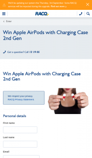 RACQ – Win Apple Airpods With Charging Case 2nd Gen