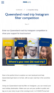 RACQ – Win 1 of 4 $100 Puma Fuel Vouchers (prize valued at $400)