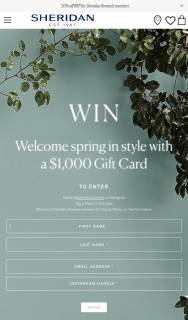 Sheridan – Win a $1000 #giftcard (prize valued at $1,000)