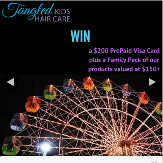 Tangled Kids Hair Care – Win Visa Card and Hair Brush Pack (prize valued at $200)