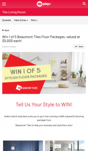 Ten Play – Win 1 of 5 Beaumont Tiles Floor Packages (prize valued at $5,000)