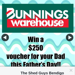 The Shed Guys Bendigo – Win a $250 Bunnings Voucher for Your Dad this Fathers Day (or for Yourself) (prize valued at $250)