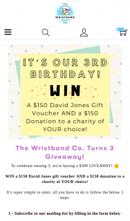 The WrisTBand Co – Win a $150 David Jones Gift Voucher and a $150 Donation to a Charity of Your Choice (prize valued at $300)