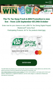 Tic Tac – Win Promotion Is Now Live – from 11th September Till 29th October (prize valued at $65,800)