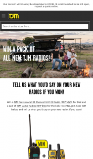 TJM – Win a Tjm Professional 80 Channel Uhf Cb Radio (RRP $229) for Dad and a Pair of Tjm Camp Radios (RRP $60) for The Kids (prize valued at $289)