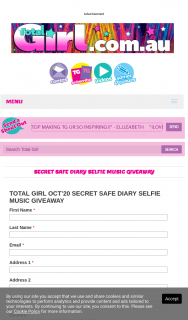 Total Girl – Win a Secret Safe Diary Selfie Music (prize valued at $559)