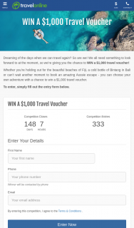 TravelOnline – Win a $1000 Travel Voucher (prize valued at $1,000)