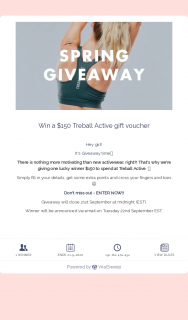 Treball Active – Win a $150 Treball Active Gift Voucher (prize valued at $150)