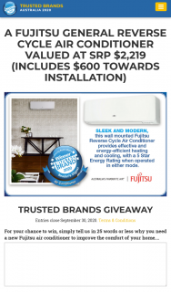 Trusted Brands – Win a Fujitsu Reverse Cycle Air Conditioner (prize valued at $2,219)