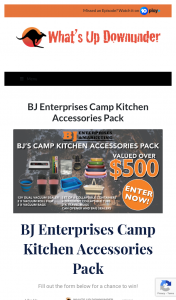 What's Up Downunder – Parable Productions – Win a Bj Enterprises Camp Kitchen Accessories Pack [closes 12noon] (prize valued at $510)