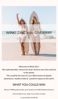 Winki Zinc – Win We'll Contact You Via Email (prize valued at $100)