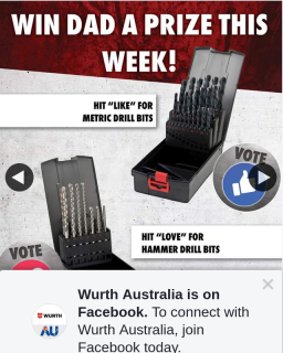 Wurth Australia – Win Day 2 Fathers Day Choice of Drill Bits