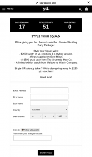 yd – Win The Ultimate Wedding Party Package (prize valued at $4,000)