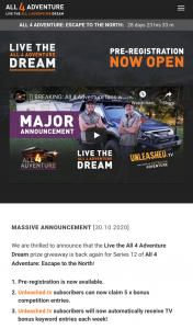 All4Adventure – Park Bligh – Win an Isuzu D Max Ls U Crew Cab 4×4 (prize valued at $186,215)