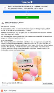 Aspire Accountants & Advisors $100 Coles Myer Bunnings or Netflix Voucher Est (prize valued at $100)