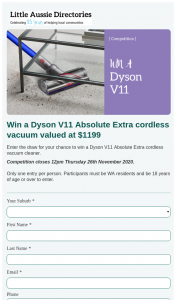 Aussie Little Directories – Win a Dyson V11 Absolute Extra Cordless Vacuum Valued at $1199 (prize valued at $1,199)