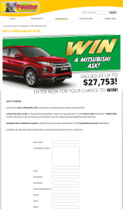 Australian Puzzler – Win a Mitsubishi Asx Competition In Participating Puzzler Australia Titles (prize valued at $27,753)