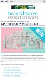 Beauty Heaven – Win 1 of 3 Grow Prize Packs