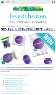 Beauty Heaven – Win 1 of 3 Swisspers Prize Packs (prize valued at $1)