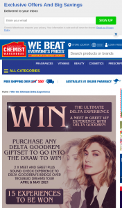 Chemist Warehouse – Win The Ultimate Delta Experience (prize valued at $700)