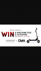 Crooze & Car Mods Australia – Win a Machine Fox E Scooter From Car Mods Australia & Crooze (prize valued at $1,899)