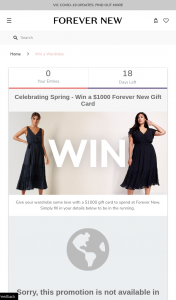 Forever New – Win a $1000 Gift Card (prize valued at $1,000)