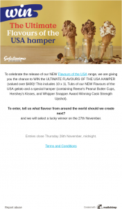 Gelatissimo – Win The Ultimate Flavours of The Usa Hamper (prize valued at $400)
