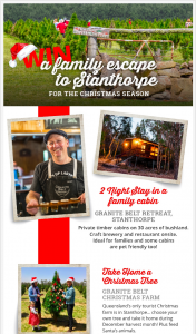 Granite Belt Wine & Tourism – Win a Christmas Season Family Adventure to Stanthorpe