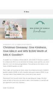 kikkik – Win $1500 Worth of Kikkik Goodies (prize valued at $1,000)