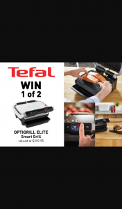 Mouths of Mums – Win 1 of 2 Tefal Optigrill Elite Smart Grills (prize valued at $399.95)