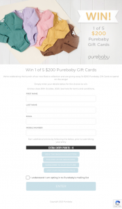 Purebaby – Win 1 of 5 $200 Purebaby Gift Cards (prize valued at $1,000)