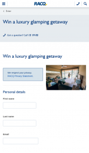 RACQ – Win a Luxury Glamping Getaway (prize valued at $1,295)