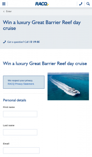 RACQ – Win a Luxury Great Barrier Reef Day Cruise (prize valued at $430)