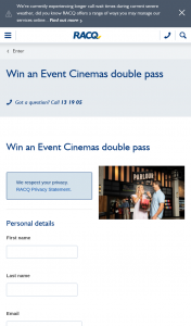 RACQ – Win an Event Cinemas Double Pass (prize valued at $40)
