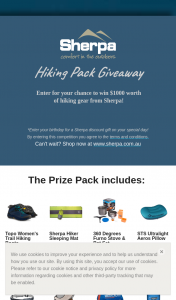 Sherpa – Win $1000 Worth of Hiking Gear From Sherpa